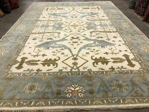 10x14 HAND-KNOTTED WOOL RUG NEW MUTED oriental modern mute handmade carpet blue