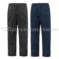 Aqua Heavy Duty Cargo Combat Polycotton Work Trousers Pants Knee Pad Pockets New