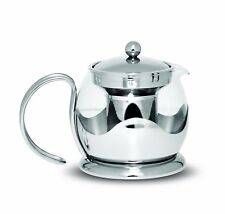 SABICHI MODERN 750ml STAINLESS STEEL & PYREX GLASS TEA POT WITH INFUSER