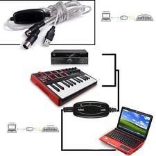 PC to Music Keyboard Adapter Cable HOT USB IN-OUT MIDI Interface Cord Converter