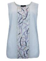 Midnight Velvet LIGHT-GREY Sleeveless Bead & Sequin Embellished Top - Size 12/14