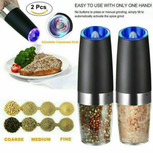 2pc Stainless Steel Electric Gravity Induction Salt Pepper Mill Spice Grinder