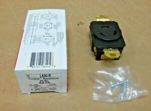 NIB P&S L620-R L620R NEMA L6-20R TURNLOK RECEPTACLE 20 AMP 250V 2P 3W (9 AVAIL)