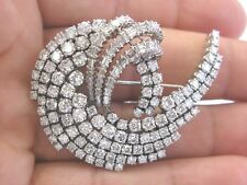 18Kt Round & Baguette NATURAL Diamond Multi Shape White Gold Pin Brooch 14.22Ct