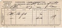 CHESHIRE LINES COMMITTEE Manchester To Mansfield Npaper Parcels Way Bill Rf45205