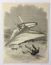 1886 magazine engraving ~ ICE YACHTING An Accident