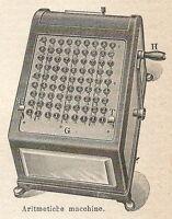 A6700 Macchina aritmetica - Stampa Antica del 1924 - Xilografia