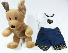 Vintage Build A Bear Retired Sitting Brown Dog With Leopard trim Clothes