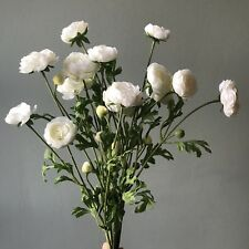 Bunch Of Faux Silk White Ranunculus, Realistic Artificial Wild Flowers