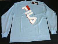 FILA Mens LOng Sleeve T Shirt Logo Apparel Blue   size XLarge