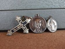 Vintage Christian Religious Medals Crucifix Etc White Metal