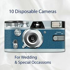 10 x Disposable Camera - Retro Blue Heaven Wedding flash 27exp with table cards