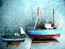 PAIR of FISHING TRAWLER MODEL BOATS on STANDS