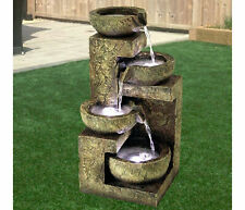 4 Tier Indoor Outdoor Polyresin Garden Water Feature Fountain LED Lights Decor