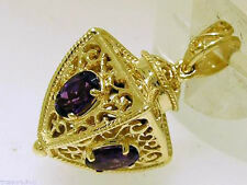P019 Genuine 9K SOLID Gold Natural Amethyst FOB Pendant 4 sided Filigree Lantern
