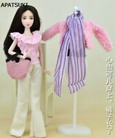 Fashion Doll Clothes Set Coat Pants Scarf Shoes Bag For 1/6 Dollhouse Kids Toy