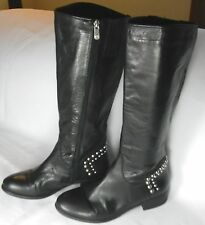 Black Leather Guess Boots w/Silver Stud Accents 8 1/2 M Fabric Lined Nice!