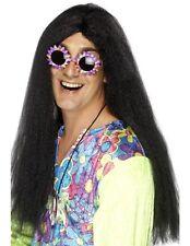Mens 60s 1960s 60's Hippy Fancy Dress Wig Black Hippie wig New by Smiffys