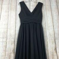 FAME & Partners Pleated Dress Size 8 Black Evening Wear V Neck Lined Back Zip