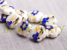 10pcs 15mm Flower Porcelain Ceramic Loose Spacer Beads Findings DP Blue