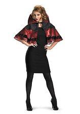 Vampira Capelette Cloak Cape Red Black Gothic Womens Capelet Halloween Costume