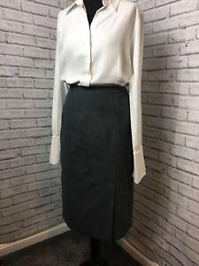 Laura Ashley Grey Skirt Size 12 Faux Moleskin Texture Midi Pencil women's career