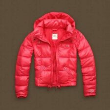 Hollister Abercrombie & Fitch Womens Puffer Coat Hooded Down Jacket PINK MEDIUM