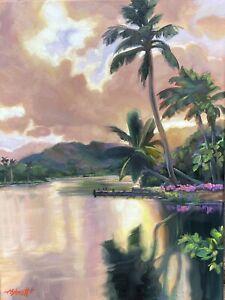 "Abbott Oil On Canvas 16""x12"" Wailua River Under A Warm Kauai Sky, Hawaii Islands"