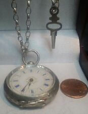 19th C. Swiss POCKET WATCH 935 Silver Case Key wind Cylinder Movement