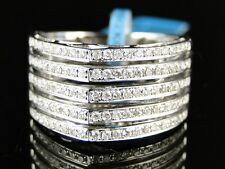14K Womens White Gold Diamond Wedding 11 Mm Pave Round Band Designer Ring 3/4 Ct