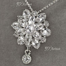 18K WHITE GOLD GF SIMULATED DIAMOND FLOWER LOTUS PENDANT NECKLACE