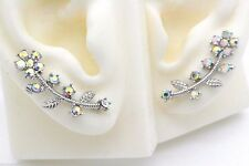 Silver Ear Cuff Pins Trails up Lobe Earrings Wrap Pair Flower Vine AB Crystals