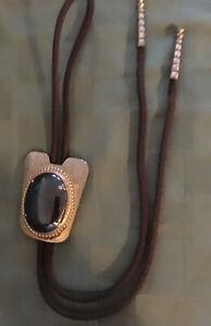 Vintage Bolo Tie Large Black Stone Onyx ??