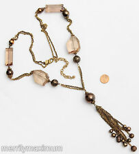 Chico's Signed Necklace Antique Gold Copper Bronze Tone Pale Pink Chunky Beads