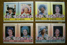 Nevis 1985 #427-430 a-b Queen Mother MNH Mint Never Hinged Set of 4 Pairs Stamps