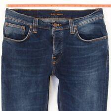 Mens Nudie GRIM TIM Stretch Slim Skinny Blue Jeans W33 L32