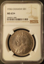 :1936 SILVER DOLLAR GEORGE-V S1$ CANADA KM# 31 LOW-POP NGC MS-63+ HIGHEST-GRADES