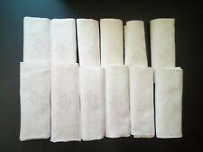12 GRANDES SERVIETTES COTON DAMASSE ANCIEN MONOGRAMME AM BRODE MAIN ANCIEN