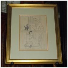 Rare 1930s-40s Framed Signed Late Disney Artist F. Follmer Drawing of Pinocchio