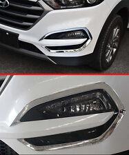 Chrome Front Fog Light Cover Trim for 2016-2017 Hyundai Tucson Lamp Foglight