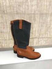 Authentic Ralph Lauren Girls Leather Fabric Riding Boots Lug Sole UK1/EU32
