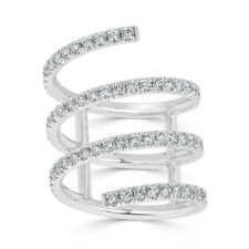 18K White Gold Pave Diamond 2.00 TCW Spiral Wrap Openwork Statement Coil Ring