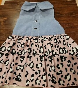 Chambray Blue Pink Leopard Ruffle Skirt Halter Dog Dress Medium M