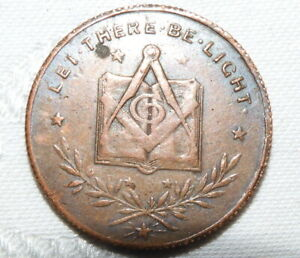 ANTIQUE MASONIC MARK WELL TOKEN LODGE LET THERE BE LIGHT No 6