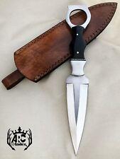 CUSTOM HANDMADE D2 CARBON STEEL FULL TANG HUNTING DAGGER KNIFE & LEATHER SHEATH
