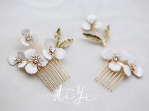 Bridal hair comb,Flower hairpiece, Crystal hair comb, BOHO haircomb, Golden comb