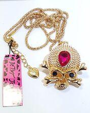 Crossbones Pendant Gold Tone Betsey Johnson Royal Skull &