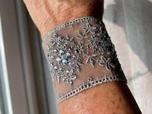 Chan Luu Jewelry Silver Grey Lace Crystal Cuff Bracelet #BS-3766