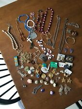 Vintage Lot Of Estate Costume Jewelry Necklace Earring Bracelet & More
