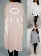 Ladies Womens Italian Oversized Angel Wings Baggy Tunic Top Dress Plus Size